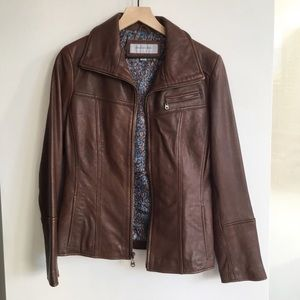 Marc New York Brown Lambskin Leather Jacket